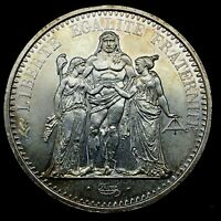 1967 FRANCE Large HERCULES Motto Antique Silver French 10 FRANCS Coin.#1  KM#932
