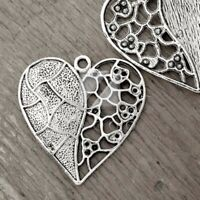 8pcs Tibetan silver color heart key charms G1274