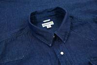 Carhartt Mens Pearl Snap Button Up Long Sleeve Cotton Demin Work Shirt Size 3XL