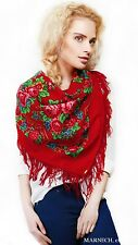 190-5 Merino Woolen Floral scarf Russian style Shawl wrap kerchief Pavlovo Posad