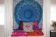 Tapisserie Murale Inde Mandala Housse Coussin Bohème Classique Bleu Dortoir Déco