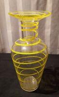 Bright Yellow Swirl Hand Blown Art Glass Vase 10 3/4 Inches Tall