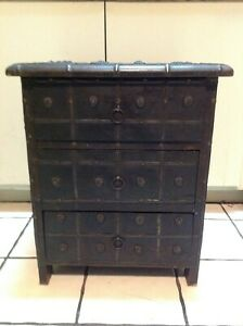 Vintage Solid  Wood Tresure Chest 3 Drawers Side Table