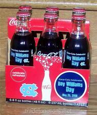 """NOS 2008 COCA~COLA COACH """"ROY WILLIAMS DAY UNC"""" 6pk FULL COKE BOTTLES & CARTON"""
