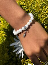 Lucky Feather White Holographic Pearl Beaded Bracelet