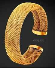 24k GOLD PLATED CUFF BRACELET - UNISEX MESH BANGLE WITH GIFTBOX