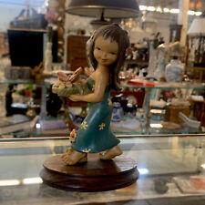 "ANRI Ferrandiz Wood Carved 5 1/2"" Figure Hawaiian Girl with Flowers & Butterfly"