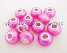 Color Pearl European Beads ~ Large Hole Acrylic Charms - for DIY Bracelets Gifts