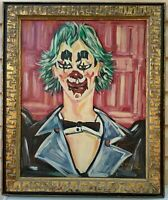 Happy Clown Vintage Original Art Oil Painting On Canvas Framed Signed by Crone