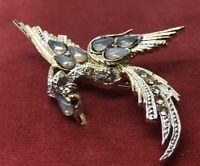Vintage Brooch Pin Bird Rhinestone Gold Tone