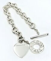 """Tiffany & Co 925 Sterling Silver Engraveable Heart Tag Toggle Bracelet 8"""" ."""