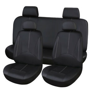 Car PU Leather Seat Cover Full Set Front Rear Seat Cushion Mat Protector Black