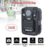 32GB HD 1296P Police Body Worn Camera Video DVR Night Vision + Battery Charger