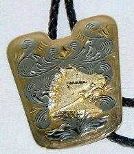Gold&Silver w/Rhinestones Horse Head Bolo Tie Braided Black Leather Silver Tips