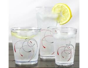 4 Corelle SPLENDOR Acrylic DRINKWARE Beverage Glasses Red Grey 19. 14 or 8-oz