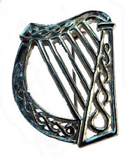 Pewter Harp Scarf Pin / Brooch