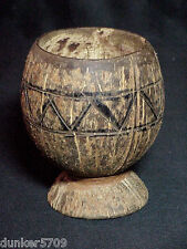 Coconut Goblet Bowl Appears Handmade With Encircling Carved Design 4 3/4 In High
