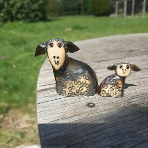2 Hand made Ceramic Welsh Sheep. By SLWCH.