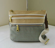 Fossil Tan Smokey Blue Explorer Straw Crossbody