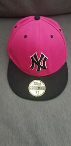 OFFICIAL NY YANKEES 59FIFTY Pink Black Baseball Cap Fitted 57.7cm 7 1/4