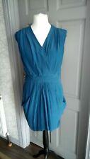 Whistles teal 100% Silk Dress Size 14 Short sleeves Wrap over V neck & Pockets