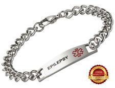 Epilepsy Stainless Steel Health Bracelet Medical Alert ID Engraved Chain Silver