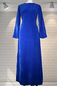 BEAUTIFUL Original Vintage 1960s Blue Velvet Empire Line Hostess Maxi Dress - XS