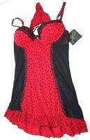 Cinema Etoile Womens Valentina Molded Cup Flocked Heart Babydoll True Red XL NWT