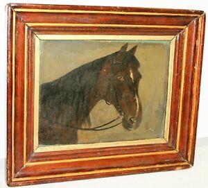 Antike handgemalte Ölgemälde , Pferdekopf, Gemälde, Bild.