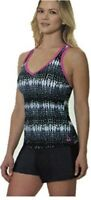 Gerry Women's Colorblock Tankini Swimsuit with Built in Bra-Mulberry (Tie-Dye)