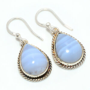 """Namibian Blue Lace Agate Handmade 925 Sterling Silver Jewelry Earring 1.29"""" F525"""