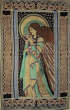 "Peace Angel Celtic Tapestry Cotton Bedspread 108"" x 88"" Twin Blue"