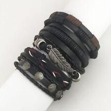 8pcs Set Black Skull Brown Tribal Leather Cuff Wristband Bracelet for Men Women