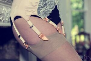 Peach 8 Strap Suspender Belt in Satin with White Lace Front in Retro Stye