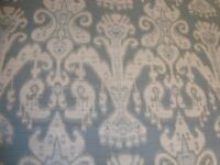 "One yd KRAVET COUTURE TAPESTRY FABRIC IKAT UPHOLSTERY Turquoise 56"" x 36"" BTY"