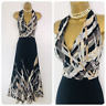 PRECIS Summer Maxi Dress size 10 Small Beige Grey Black Long Full Length Holiday