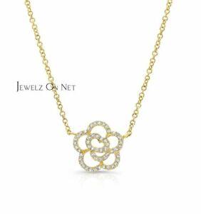 14K Gold 0.27 Ct. Genuine Diamond Floral Pendant Necklace Birthday Fine Jewelry