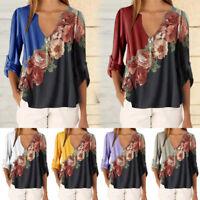 Women Summer Blouses Half Sleeve V neck Floral Print Casual 5XL Plus Size