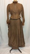 ANTIQUE 1880'S VICTORIAN DRESS, BODICE, SKIRT, BUSTLE