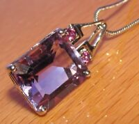 SECONDHAND 9ct WHITE GOLD EMERALD CUT AMETHYST PENDANT & 9CT WHITE GOLD CHAIN
