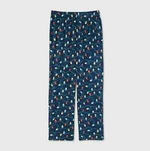 Men's Holiday Lights Fleece Matching Family Pajama Pants - Blue Size Medium