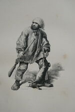 LE BRACONNIER  GRENIER GRAVURE 1842 PRINT (R340)
