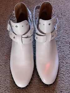 NEW Halogen Womens Boots Ankle Cow Leather White SIZE 7