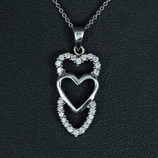 14k Oro Blanco Redondo Diamante 0.36ct KT Collar con colgante cadena