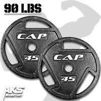 """Weight Plates 45lb Pair 2"""" Olympic Grip Home Gym Fitness Exercise Cast Iron New"""