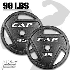 "Weight Plates 45lb Pair 2"" Olympic Grip Home Gym Fitness Exercise Cast Iron New"