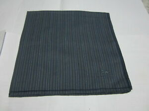 "USED NAVY BLUE STRIPED PATTERN COTTON 18"" POCKET SQUARE HANDKERCHIEF FOR MEN"