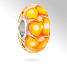 MATERIA Murano Glas Beads gelb orange Element - 925 Silber Beads Glas Perle gelb