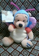 """Disney Store Easter BUTTERFLY COSTUME POOH 8"""" Bear Beanbag Plush Toy 2000 NEW"""