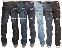 """New Mens Enzo Designer Regular Fit Straight Leg Denim Jeans Pants Waist 28""""-48"""""""
